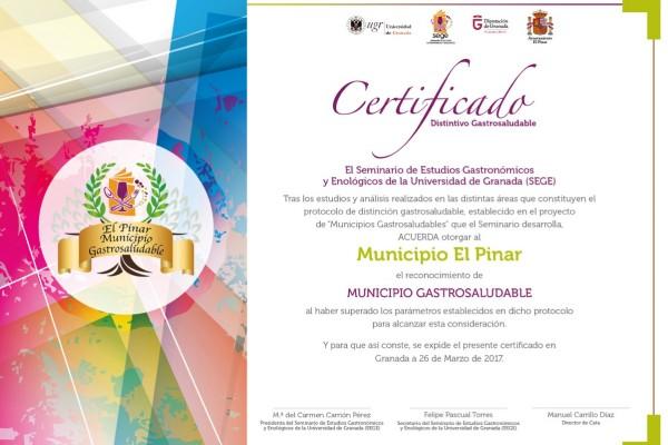 Certificado de Municipio Gastrosaludable de El Pinar